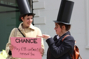 Londoners confront letting agents and call for end to 'Housing CrisisMonopoly'
