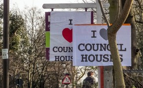 South London estate agent signs subverted by 'I Love Council Houses' posters