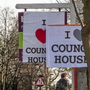 South London estate agent signs subverted by 'I Love Council Houses'posters