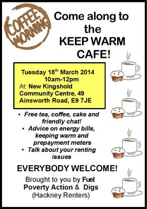 'Keep Warm Cafe' on renting and energy bills